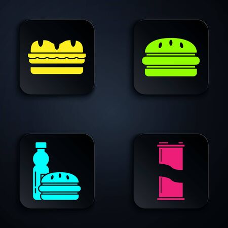 Set Soda can, Sandwich, Bottle of water and burger and Burger. Black square button. Vector
