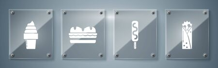 Set Doner kebab, Ice cream, Sandwich and Ice cream in waffle cone. Square glass panels. Vector