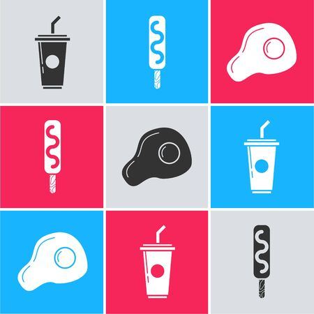 Set Paper glass with drinking straw and water, Ice cream and Scrambled eggs icon. Vector