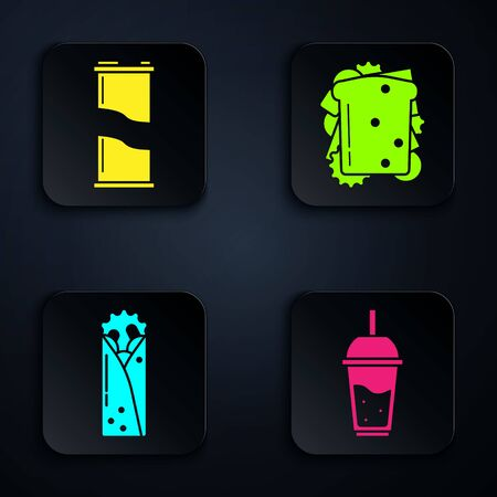 Set Glass of lemonade with drinking straw, Soda can, Doner kebab and Sandwich. Black square button. Vector