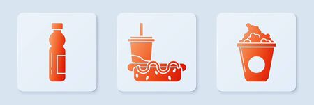 Set Paper glass with drinking straw and hotdog, Bottle of water and Popcorn in cardboard box. White square button. Vector