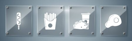Set Scrambled eggs, Paper glass and taco with tortilla, Potatoes french fries in carton package box and Ice cream. Square glass panels. Vector