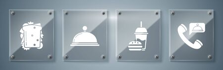 Set Food ordering, Paper glass with drinking straw and burger, Covered with a tray of food and Sandwich. Square glass panels. Vector