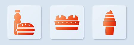 Set Sandwich, Bottle of water and burger and Ice cream in waffle cone. White square button. Vector