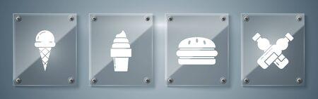 Set Crossed bottle of water, Burger, Ice cream in waffle cone and Ice cream in waffle cone. Square glass panels. Vector Illustration