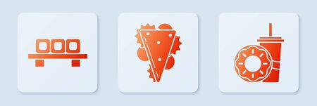 Set Sandwich, Sushi on cutting board and Paper glass with drinking straw and donut. White square button. Vector