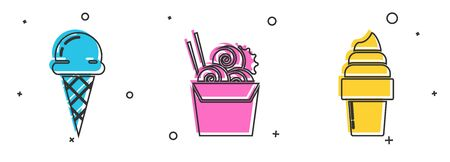 Set Ice cream in waffle cone, Asian noodles in paper box and chopsticks and Ice cream in waffle cone icon. Vector