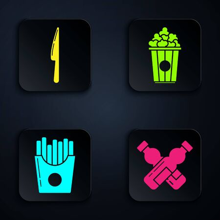 Set Crossed bottle of water, Knife, Potatoes french fries in carton package box and Popcorn in cardboard box. Black square button. Vector