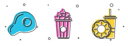 Set Scrambled eggs, Popcorn in cardboard box and Paper glass with drinking straw and donut icon. Vector
