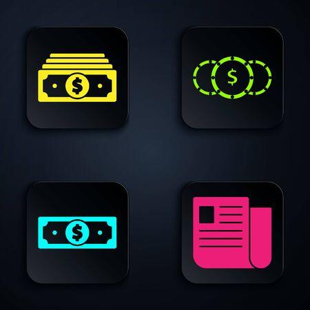 Set File document, Stacks paper money cash, Stacks paper money cash and Coin money with dollar symbol. Black square button. Vector Ilustração