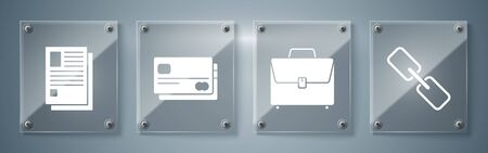 Set Chain link, Briefcase, Credit card and File document. Square glass panels. Vector
