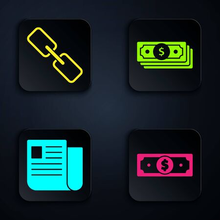 Set Stacks paper money cash, Chain link, File document and Stacks paper money cash. Black square button. Vector