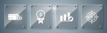 Set Target with dollar symbol, Presentation financial with graph, schedule, chart, diagram, infographic, pie graph, Reward for good work and Bright stadium lights. Square glass panels. Vector Foto de archivo - 137217683