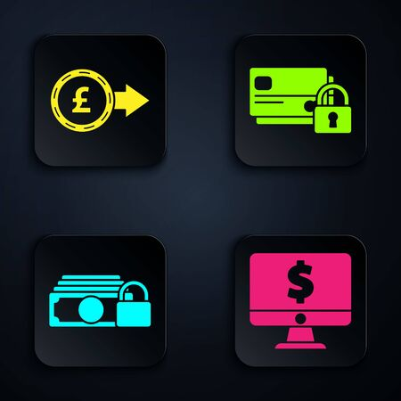 Set Computer monitor with dollar symbol, Coin money with pound sterling symbol, Money with lock and Credit card with lock. Black square button. Vector Vetores