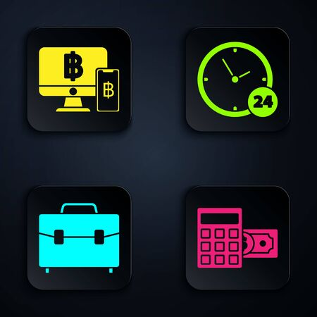 Set Calculator with dollar symbol, Computer monitor with mobile phone and bitcoin, Briefcase and Clock 24 hours. Black square button. Vector