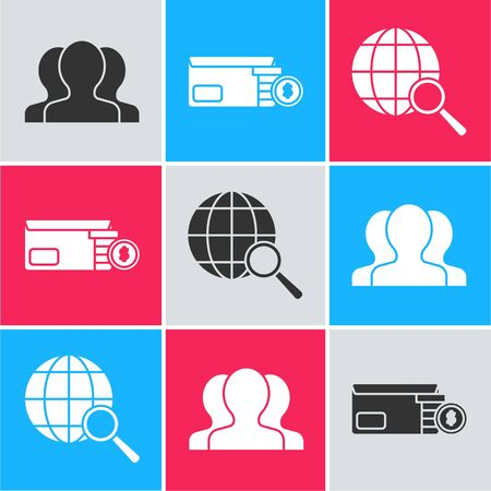 Set Users group, Bright stadium lights and Magnifying glass with globe icon. Vector