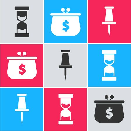 Set Old hourglass with flowing sand, Wallet with dollar symbol and Push pin icon. Vector Illusztráció