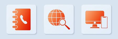 Set Magnifying glass with globe, Address book and American football helmet and shield. White square button. Vector