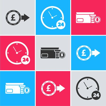 Set Coin money with pound sterling symbol, Clock 24 hours and Bright stadium lights icon. Vector Ilustração