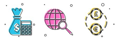 Set Calculator with money bag, Magnifying glass with globe and American Football ball and helmet icon. Vector