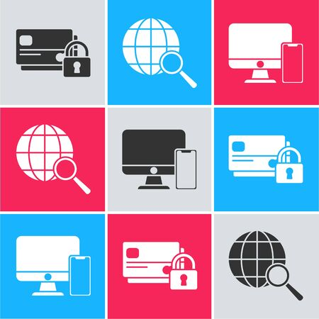 Set Credit card with lock, Magnifying glass with globe and American football helmet and shield icon. Vector Ilustração