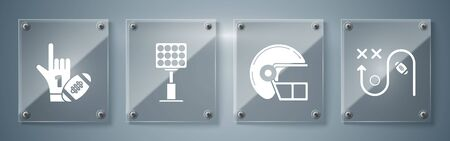 Set Planning strategy concept, American football helmet, Bright stadium lights and Number 1 one fan hand glove with finger raised and american football ball. Square glass panels. Vector