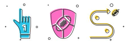 Set Number 1 one fan hand glove with finger raised, American Football ball and shield and Planning strategy concept icon. Vector Çizim