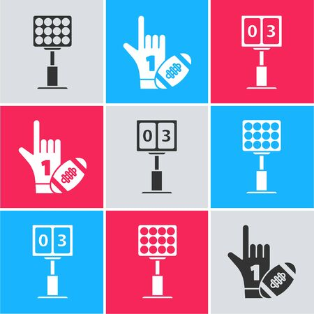 Set Bright stadium lights, Number 1 one fan hand glove with finger raised and american football ball and Sport football mechanical scoreboard and result display icon. Vector Çizim