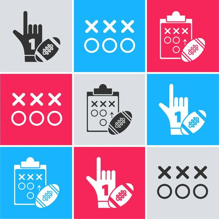 Set Number 1 one fan hand glove with finger raised and american football ball, Planning strategy concept and Planning strategy concept icon. Vector Çizim