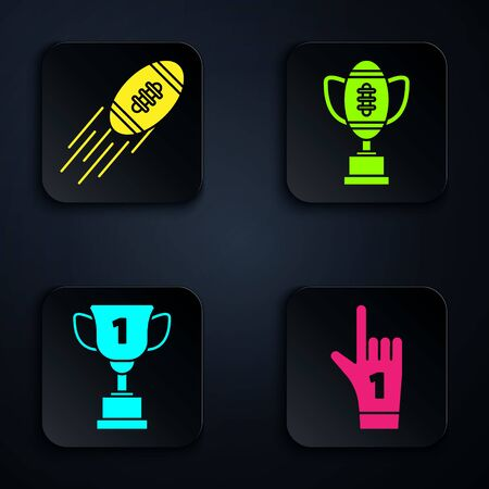 Set Number 1 one fan hand glove with finger raised, American Football ball, Award cup and Award cup and American football ball. Black square button. Vector