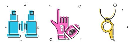 Set Binoculars, Number 1 one fan hand glove with finger raised and american football ball and Whistle icon. Vector