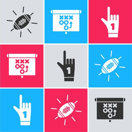 Set American Football ball, Planning strategy concept and Number 1 one fan hand glove with finger raised icon. Vector
