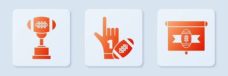 Set Number 1 one fan hand glove with finger raised and american football ball, Award cup and American football ball and American football on tv program. White square button. Vector