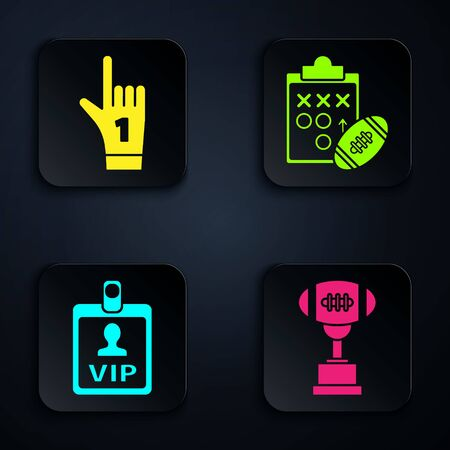 Set Award cup and American football ball, Number 1 one fan hand glove with finger raised, VIP badge and Planning strategy concept. Black square button. Vector Çizim
