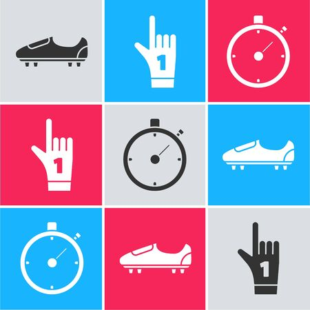 Set Soccer or football shoes with spikes, Number 1 one fan hand glove with finger raised and Stopwatch icon. Vector