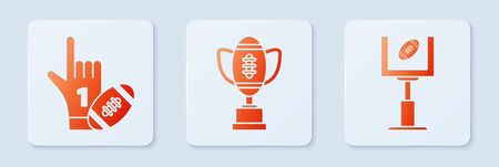 Set Award cup and American football ball, Number 1 one fan hand glove with finger raised and american football ball and American football goal post and football ball. White square button. Vector