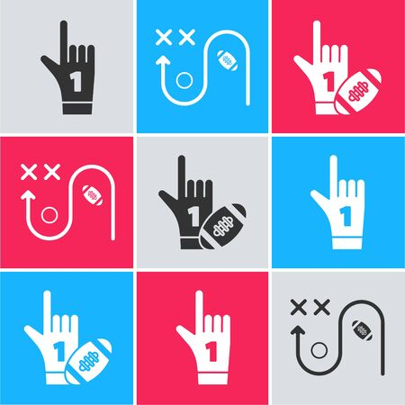 Set Number 1 one fan hand glove with finger raised, Planning strategy concept and Number 1 one fan hand glove with finger raised and american football ball icon. Vector