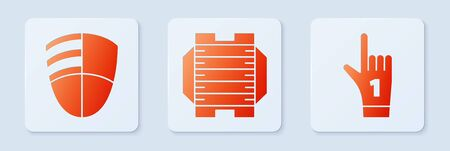 Set American football field, Football club template and Number 1 one fan hand glove with finger raised. White square button. Vector