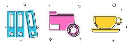 Set Office folders with papers and documents, Folder settings with gears and Coffee cup flat icon. Vector Stock Illustratie