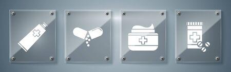 Set Medicine bottle and pills, Ointment cream tube medicine, Medicine pill or tablet and Ointment cream tube medicine. Square glass panels. Vector Archivio Fotografico - 137263862