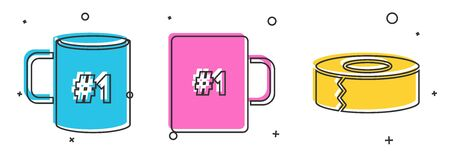 Set Coffee cup flat, Coffee cup and Scotch icon. Vector