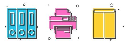 Set Office folders with papers and documents, Printer and Envelope icon. Vector 矢量图像