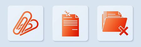 Set Note paper with pinned pushbutton, Paper clip and Delete folder. White square button. Vector