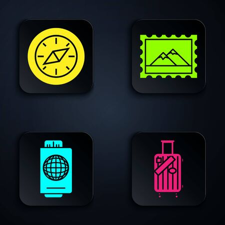 Set Suitcase for travel and stickers, Compass, Passport with ticket and Postal stamp and Mountains. Black square button. Vector