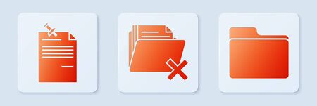 Set Delete folder, Note paper with pinned pushbutton and Document folder. White square button. Vector