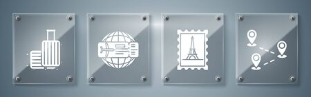 Set Route location, Postal stamp and Eiffel tower, Airline ticket and Suitcase for travel. Square glass panels. Vector