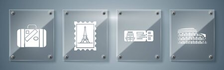 Set Coliseum in Rome, Italy, Cruise ticket for traveling by ship, Postal stamp and Eiffel tower and Suitcase for travel and stickers. Square glass panels. Vector