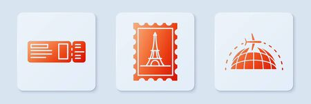 Set Postal stamp and Eiffel tower, Travel ticket and Globe with flying plane. White square button. Vector