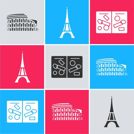 Set Coliseum in Rome, Italy, Eiffel tower and Passport pages with visa stamps icon. Vector Illustration