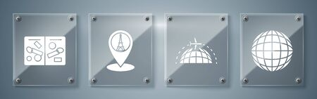 Set Earth globe, Globe with flying plane, Map pointer with Eiffel tower and Passport pages with visa stamps. Square glass panels. Vector